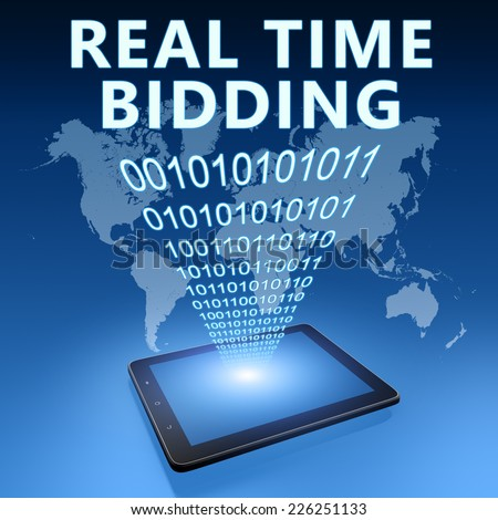 Real Time Bidding illustration with tablet computer on blue background - stock photo