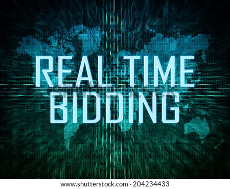 Real Time Bidding text concept on green digital world map background  - stock photo