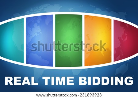 Real Time Bidding text illustration concept on blue background with colorful world map - stock photo