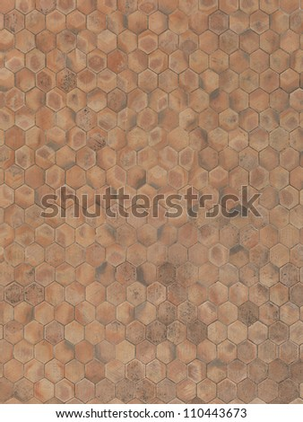 real unstitched terracotta hexagon stone floor - stock photo