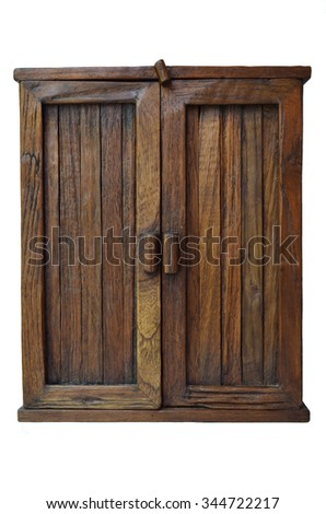 Real wooden brown cabinet on white background - stock photo