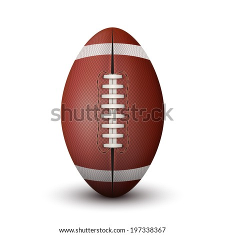 Realistic American Football ball isolated on a white background. Bitmap copy. Rugby sport. - stock photo
