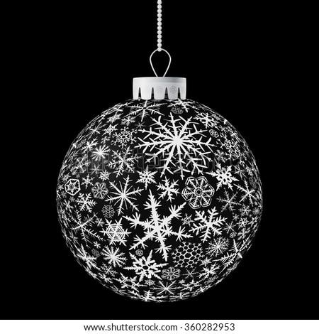 Realistic black  Christmas ball. Raster version. - stock photo