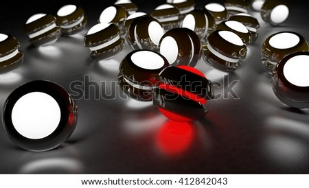 Realistic black glossy plastic spheres with luminescent cores background. Concept of uniqueness and identity. Technology abstract structure composition. Depth of field settings. 3d rendering. - stock photo