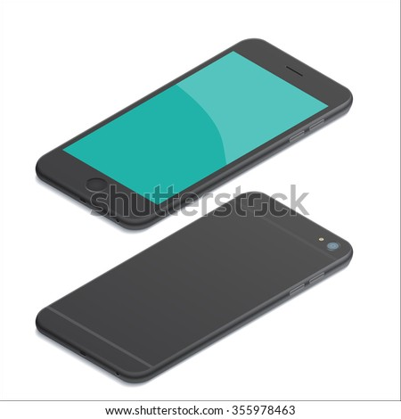 Realistic black mobile phone smartphone mockups with blank screen isolated on white background. Isometric illustration. for printing and web element, game and application mockup. - stock photo