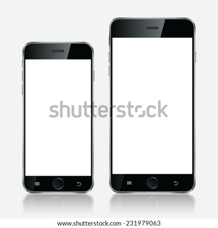 Realistic black mobiles phones with blank screen isolated on white background. Modern concept smartphone devices with digital display illustration - stock photo