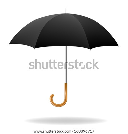 Realistic black umbrella on white background. Raster version - stock photo