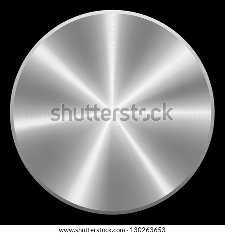 Realistic Brushed Metal Button. Isolated. Raster Version - stock photo