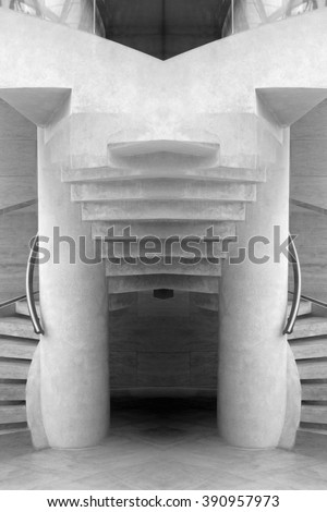 Realistic but unreal stone staircase in light gray, almost white color revealed by double exposition of public interior fragment. Two entrances merge into one flight of stairs leading to next floor. - stock photo