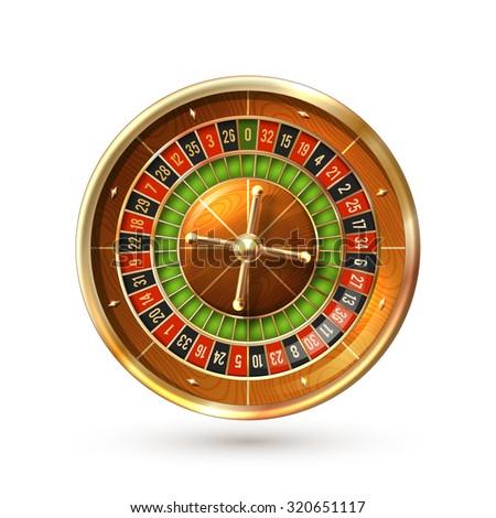 Realistic casino gambling roulette wheel isolated on white background  illustration - stock photo