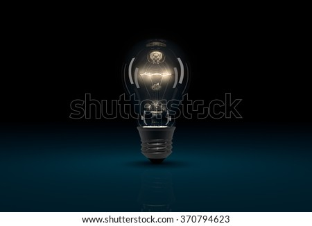 Realistic CGI glowing light bulb on dark blue background - stock photo