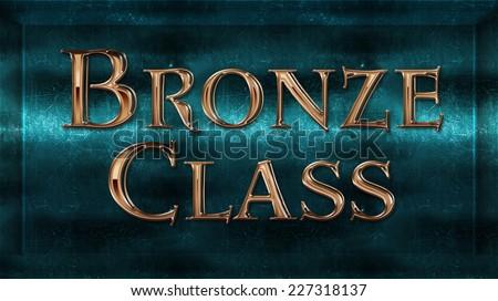 Realistic Chick Metal Bronze Class Award Sign Emblem - stock photo