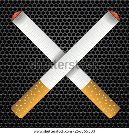 Realistic cigarettes  on bark metal perforated background. Cigarettes burns.  - stock photo