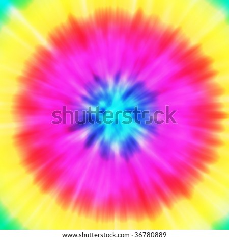 Realistic circular tie-dye illustration in a variety of colors - stock photo