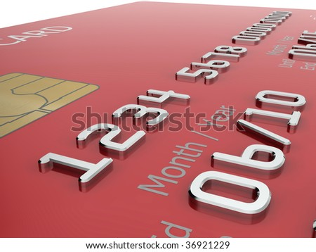 Realistic close-up illustration of a red credit card with fictional details. - stock photo
