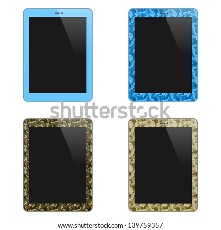 Realistic Concept Of Tablet PC With Blank Screen. For Boys And Men. Vertical. Isolated On White Background. Raster Version - stock photo
