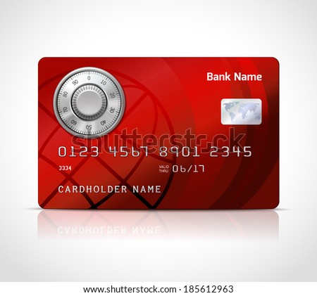 Realistic credit card template with code lock online payments security concept  illustration - stock photo