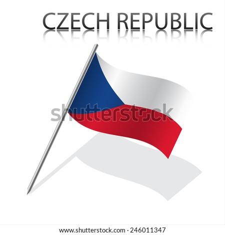 Realistic Czech flag - stock photo