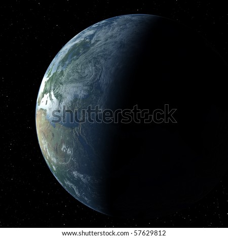 Realistic 3D Earth globe crescent with atmosphere showing Europe - stock photo