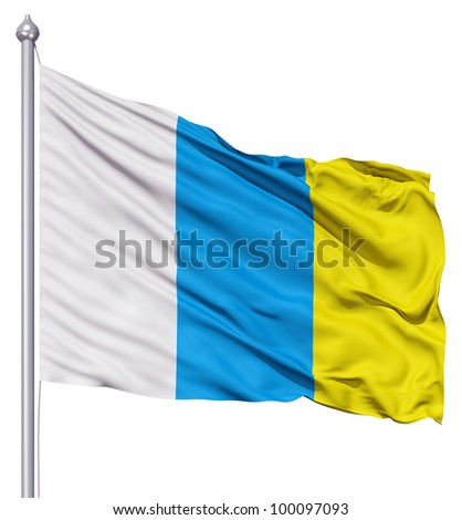Realistic 3d flag of Canary islands fluttering in the wind. - stock photo