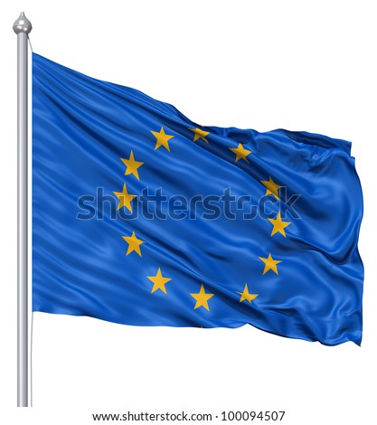 Realistic 3d flag of Europe fluttering in the wind. - stock photo