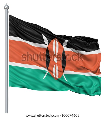 Realistic 3d flag of Kenya fluttering in the wind. - stock photo