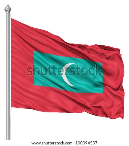 Realistic 3d flag of Maldives fluttering in the wind. - stock photo