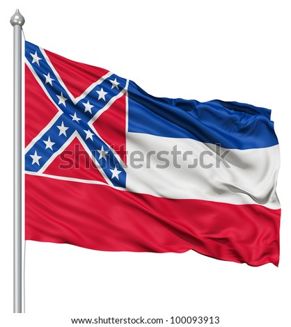Realistic 3d flag of United States of America Mississippi fluttering in the wind. - stock photo