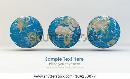Realistic 3D Globes. Elements of this image furnished by NASA. - stock photo