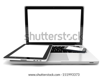 Realistic 3D illustration of electronic devices isolated on white background - stock photo
