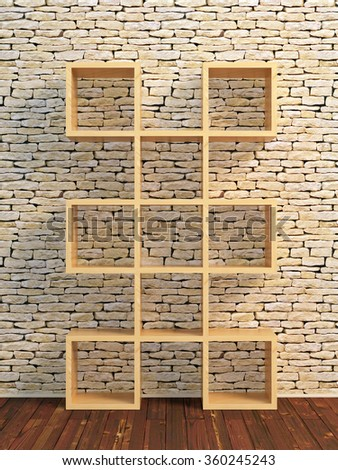 Realistic 3D illustration of wooden book shelf in front of stone brick wall - stock photo