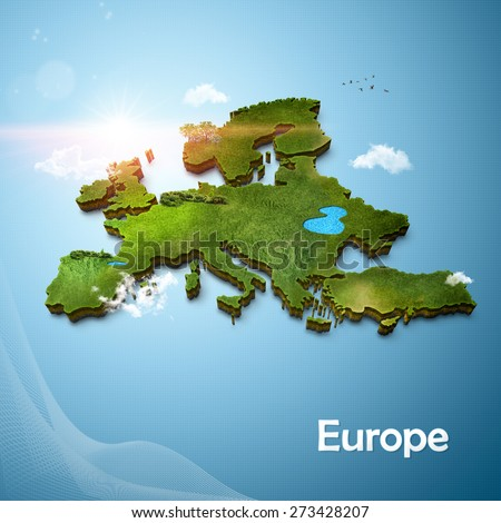 Realistic 3D Map of Europe - stock photo