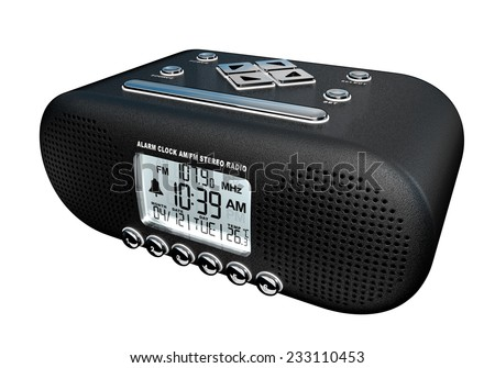 Realistic 3D render of an alarm clock am/fm stereo radio isolated over white background - stock photo