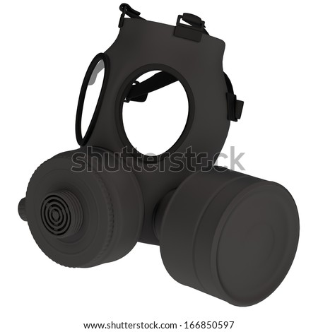realistic 3d render of gas mask - stock photo