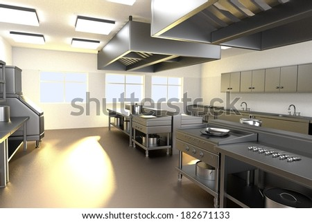 realistic 3d render of kitchen - stock photo
