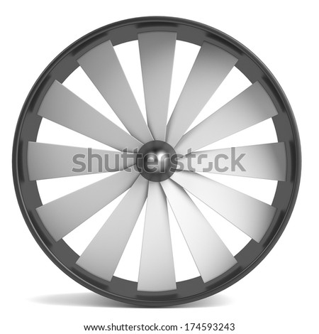 realistic 3d render of large fan - stock photo
