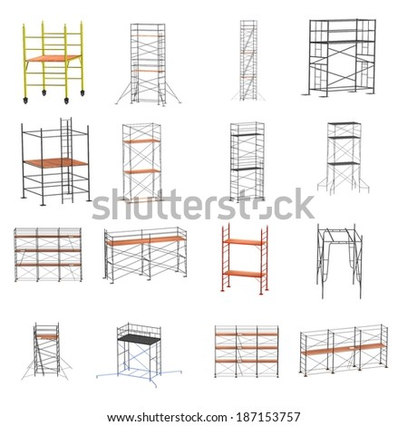 realistic 3d render of scaffolding set - stock photo