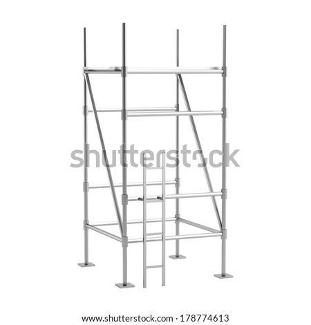 realistic 3d render of scaffolings - stock photo