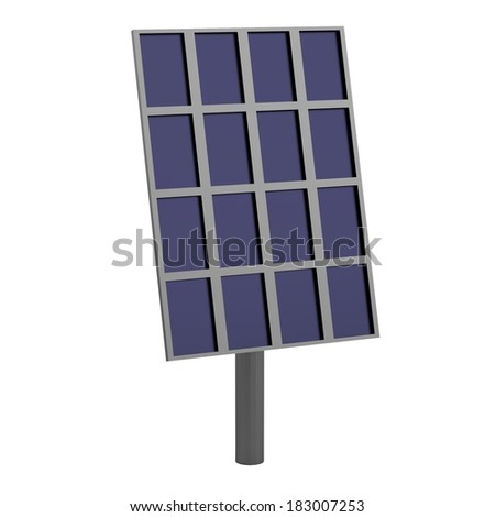 realistic 3d render of solar panel - stock photo