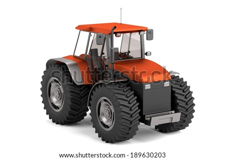 realistic 3d render of tractor - stock photo