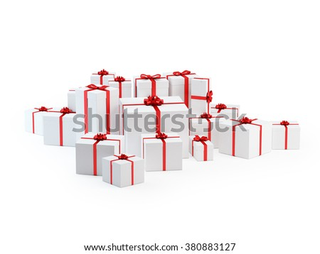 Realistic 3D render of white boxes tied with a red satin ribbon bow on a white background. Great usage to use in designs with christmas tree.  - stock photo