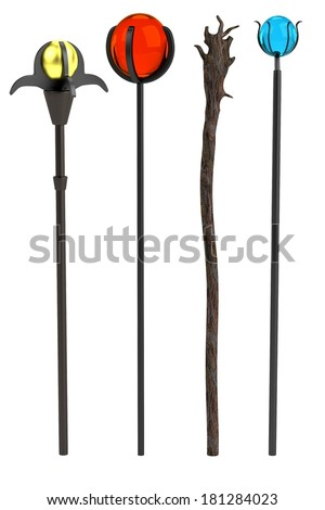 realistic 3d render of wizards staffs - stock photo