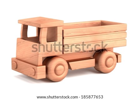 realistic 3d render of wooden toy - stock photo
