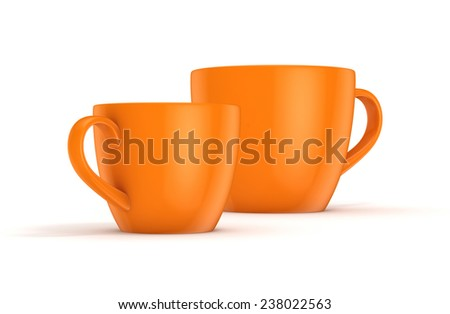 Realistic 3d rendered cups isolated on white background. - stock photo
