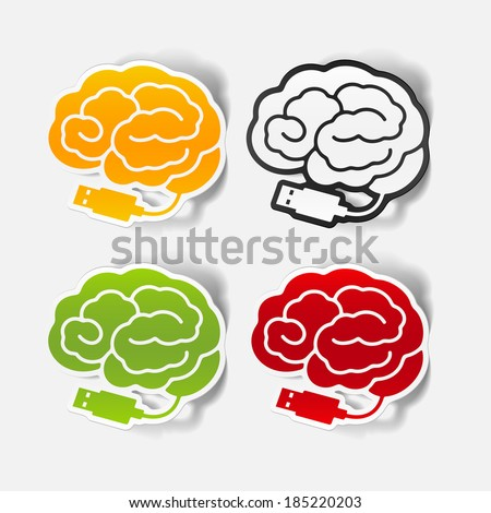 realistic design element: brain-usb. Graphic Illustration - stock photo