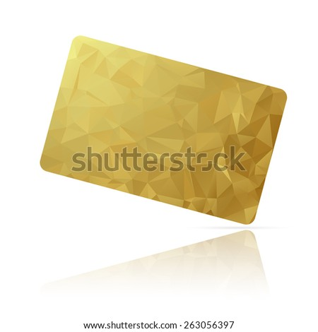 Realistic detailed credit card with blue geometric triangular design isolated on white background. - stock photo