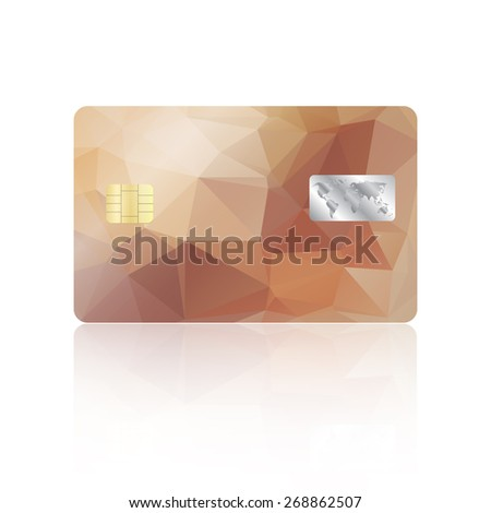 Realistic detailed credit card with geometric triangular beige design isolated on white background - stock photo