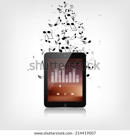 Realistic detalized tablet with music notes - stock photo
