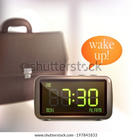 Realistic digital alarm clock with lcd display wake up text and briefcase background  illustration - stock photo