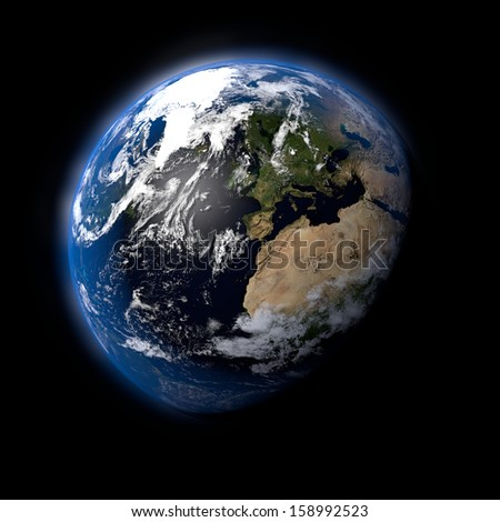 Realistic Earth Planet on Black Space Background - stock photo
